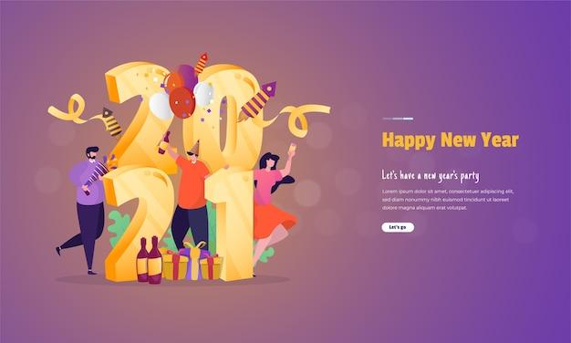 Ilustracja o koncepcji strony nowego roku