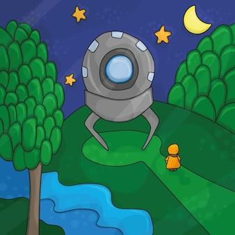 Ilustracja o nocnym krajobrazie, elementach ufo - obcy las