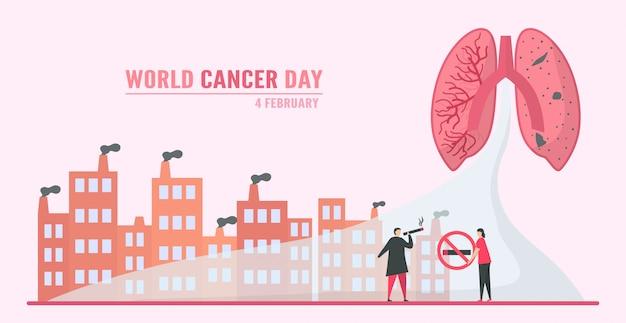 Ilustracja o światowym dniu walki z rakiem. ludzie muszą podnosić świadomość i edukować na temat tej choroby. znakiem tego dnia jest różowa wstążka.