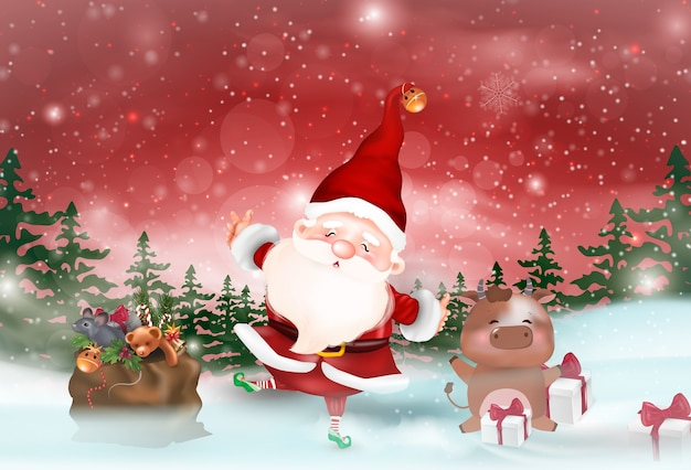 Ilustracja o tematyce bożonarodzeniowej. wesołych świąt.