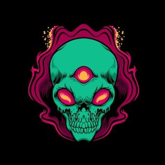 Ilustracja obcego potwora czaszki