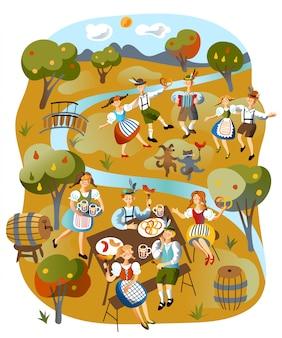 Ilustracja obchodów oktoberfest
