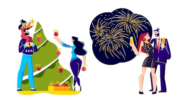 Ilustracja obchody bożego narodzenia i nowego roku