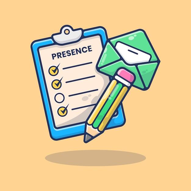 Ilustracja obecności listy kontrolnej. ołówek z listem. powrót do szkoły. sprzęt klasy obecności na tablicy. czas zajęć. płaski styl kreskówki