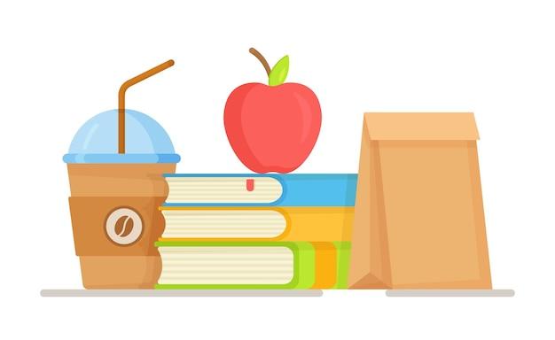Ilustracja obiadu szkolnego. pudełko śniadaniowe . szybka przekąska w szkole