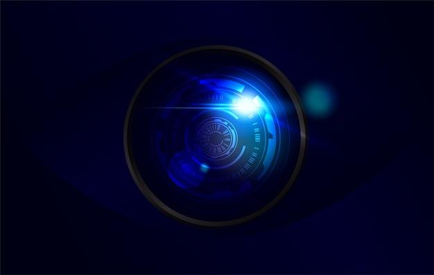 Ilustracja obiektywu kamery monitorującej wysokiej technologii z flarą