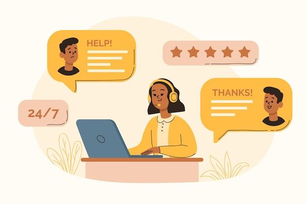 Ilustracja obsługi klienta płaska organiczna