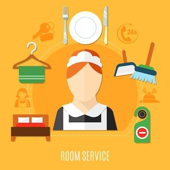 Ilustracja obsługi pokoju w hotelu