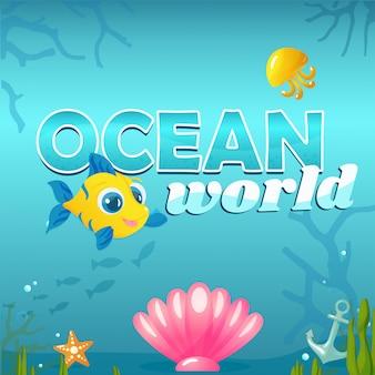 Ilustracja ocean świata z elementami