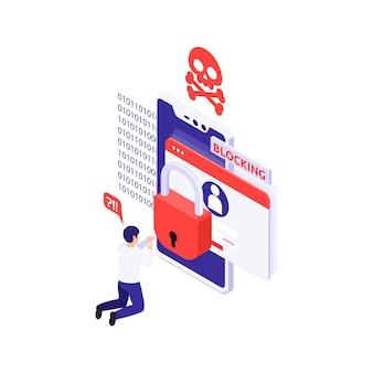 Ilustracja ochrony danych ze zdezorientowanym mężczyzną i powiadomieniem o zablokowaniu konta izometrycznego