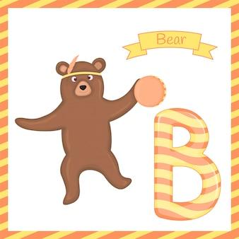 Ilustracja odizolowane zwierząt alfabet b z kreskówki niedźwiedzia