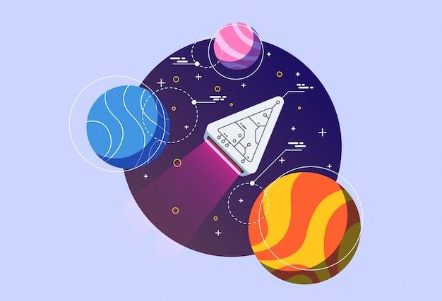 Ilustracja odkrycie przestrzeni kosmicznej.