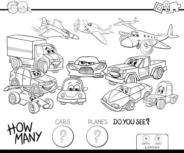 Ilustracja odliczającej gry dla dzieci z książkami kolorów samochodów i samolotów