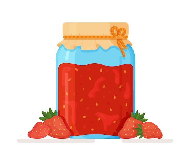 Ilustracja odosobnionego słoika tradycyjnego deseru z konfiturą truskawkową nadającego się do wypełnienia ciasta lub placków lub jako sos do serników, naleśników i reszty