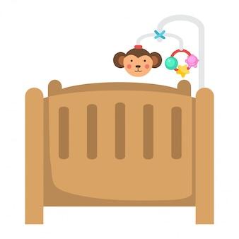 Ilustracja odosobniony dziecka łóżko