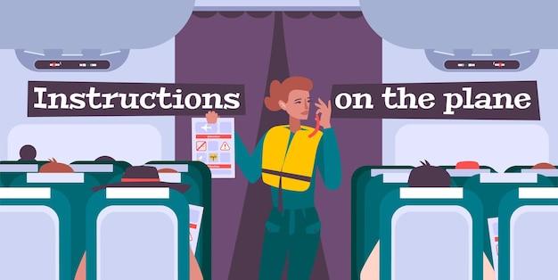 Ilustracja odprawy samolotu z kobietą stewardessą, podającą instrukcje bezpieczeństwa pasażerom