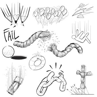 Ilustracja odręczny rysunek zestaw misji awarii