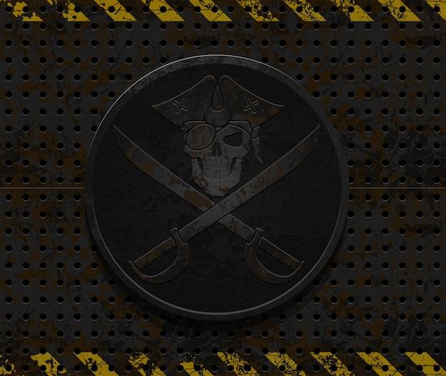 Ilustracja odznaka piratów niebezpieczeństwo
