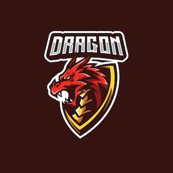 Ilustracja odznaki maskotki smoka do projektowania logo zespołu esport gaming