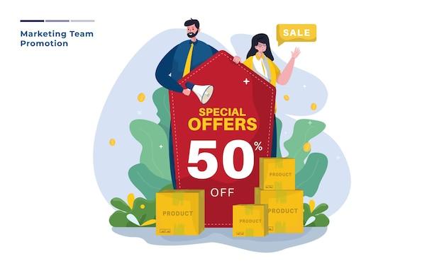 Ilustracja ofert specjalnych promocji marketingowych