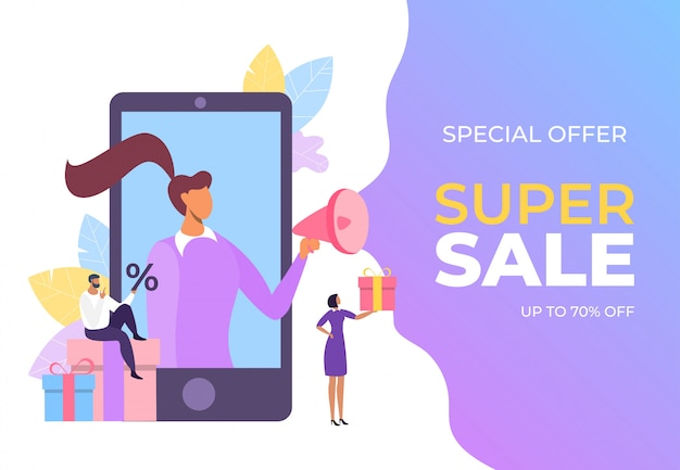 Ilustracja ogłoszenia o super sprzedaży. sklep detaliczny promujący specjalny ruch marketingowy. prezenty i rabaty przyciągają klientów