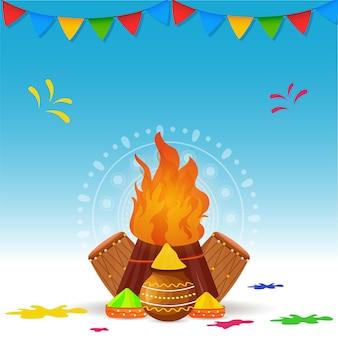 Ilustracja ognisko z miskami