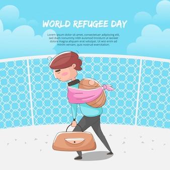 Ilustracja ojca przewożącego walizki i jego syna światowy dzień uchodźcy.
