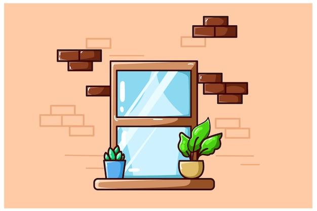 Ilustracja okna z kilkoma roślinami