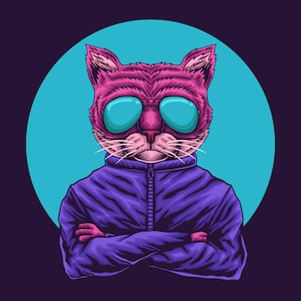 Ilustracja okulary oko kota