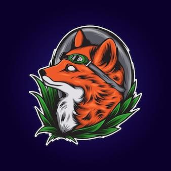Ilustracja okulary przeciwsłoneczne głowa wilka