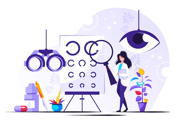 Ilustracja okulistyczna. małe oczy osoby zdrowia