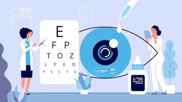 Ilustracja okulistyki. okulista sprawdza koncepcję wektora widzenia. kobieta okulista optyczny test oczu. ilustracja wektorowa kliniki okulistycznej. wizja lekarska w szpitalu, leczenie okulistyczne