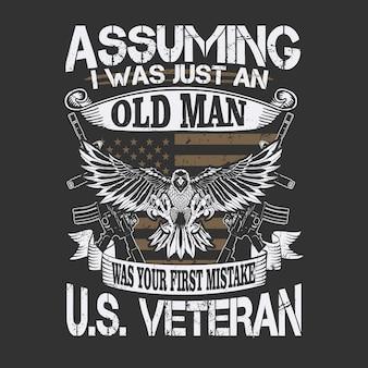 Ilustracja oldman amerykański weteran