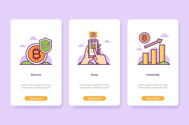 Ilustracja onboarding bitcoin application interface w stylu linii.