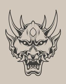 Ilustracja oni maska w stylu monochromatycznym