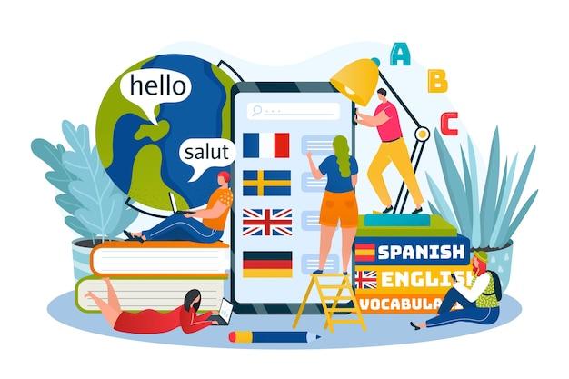 Ilustracja online do nauki języków, edukacji i kursów szkoleniowych. języki obce przez internet, aplikacja na telefon, ikony dla języka angielskiego, niemieckiego, francuskiego. kurs uniwersytecki i szkolny, słownik.