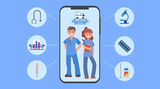Ilustracja online pogotowia usługi lekarza