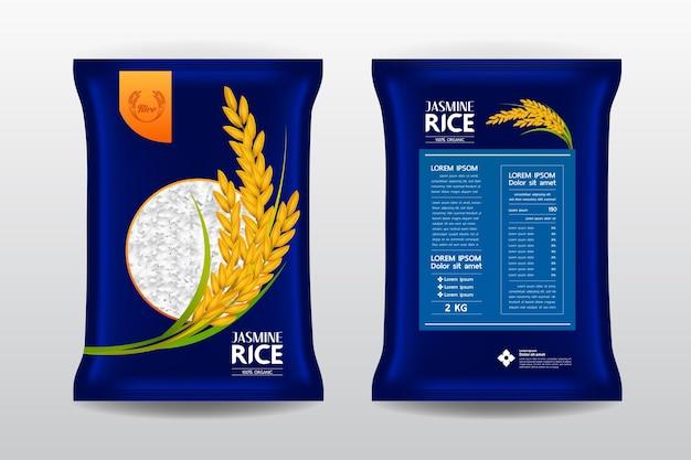Ilustracja opakowania produktu ryżowego premium