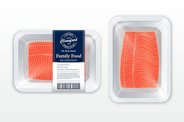 Ilustracja opakowania tuńczyka biała taca z pianki z makietą z folii z tworzywa sztucznego nowoczesna etykieta rybna