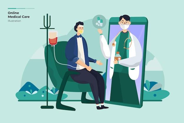 Ilustracja opieki medycznej lekarza online