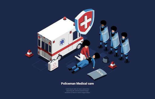 Ilustracja opieki medycznej policjanta. pracownik medyczny uzdrawiający leżącego zranionego człowieka