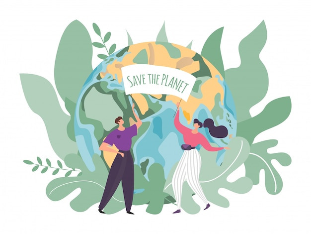 Ilustracja opieki ziemi, płaskie malutkie kreskówek, ochotnicze postacie z sztandarem uratować planetę w środowisku, ochrona ekologii