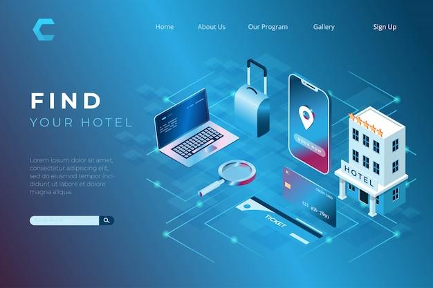 Ilustracja oprogramowania do wyszukiwania hoteli dla podróżnych w izometrycznym stylu 3d