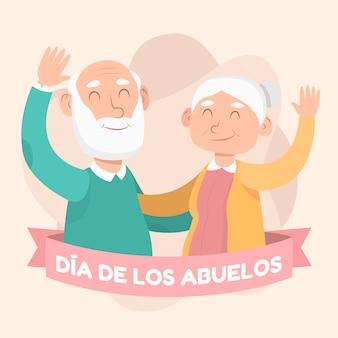 Ilustracja organiczna flat dia de los abuelos