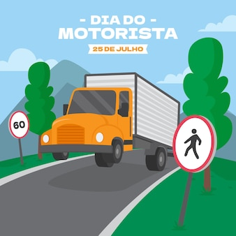 Ilustracja organiczna flat dia do motorista