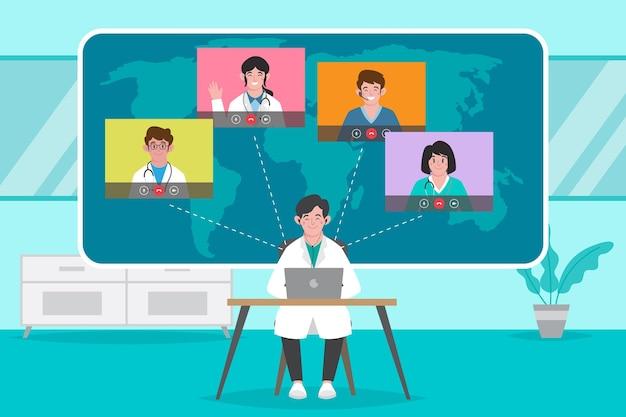 Ilustracja organiczna płaska konferencja medyczna online
