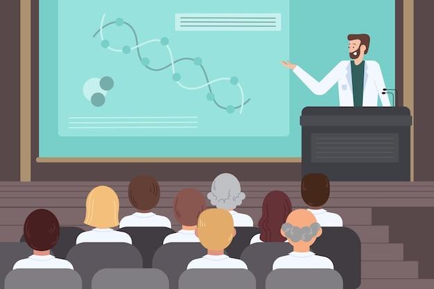 Ilustracja organiczna płaska konferencja medyczna