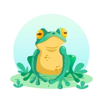 Ilustracja organiczna płaska urocza żaba