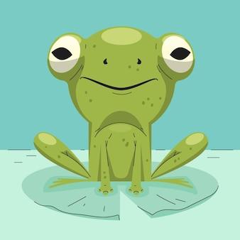 Ilustracja organiczna płaska żaba