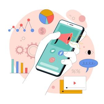 Ilustracja organiczny płaski marketing mobilny